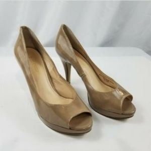 Enzo Angiolini Tan Patent Open Peep Shoes 8 1/2M